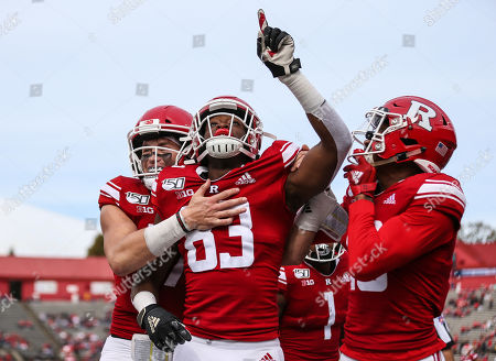 Rutgers Scarlet Knights wide receiver Isaiah Washington (83) celebrates with teammates after his third quarter touchdown during an NCAA Men's football game between the Liberty Flames and the Rutgers Scarlet Knights at SHI Stadium in Piscataway, NJ