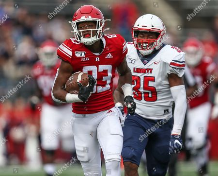 Rutgers Scarlet Knights wide receiver Isaiah Washington (83) runs towards the end zone during an NCAA Men's football game between the Liberty Flames and the Rutgers Scarlet Knights at SHI Stadium in Piscataway, NJ