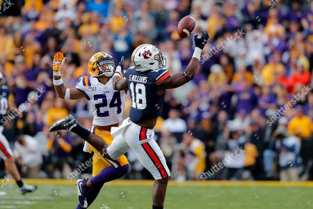 Auburn wide receiver Seth Williams (18) tries to pull in a pass in front of LSU cornerback Derek Stingley Jr. (24) in the second half of an NCAA college football game in Baton Rouge, La., . LSU won 23-20