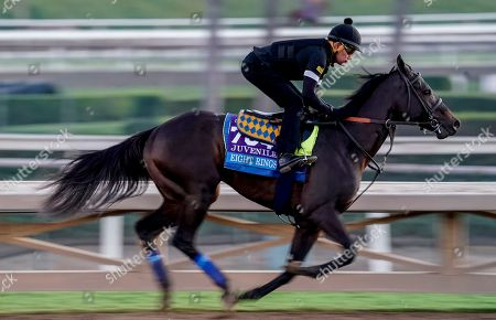 , 2019, Arcadia, California, USA: Breeders' Cup Juvenile entrant Eight Rings, trained by Bob Baffert, exercises in preparation for the Breeders' Cup World Championships at Santa Anita Park in Arcadia, California on October 26, 2019. Scott Serio/Eclipse Sportswire/BreedersÃ? Cup/CSM