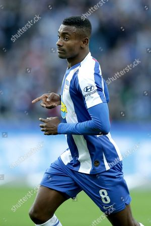 Stock Picture of Berlin's Salomon Kalou celebrates after scoring his side's second goal during the German Bundesliga soccer match between Hertha BSC Berlin and TSG 1899 Hoffenheim in Berlin, Germany