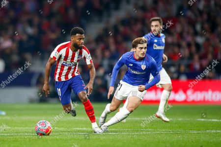 Thomas Lemar, player of Atletico Madrid from France, and Inigo Cordoba, player of Athletic Club from Spain