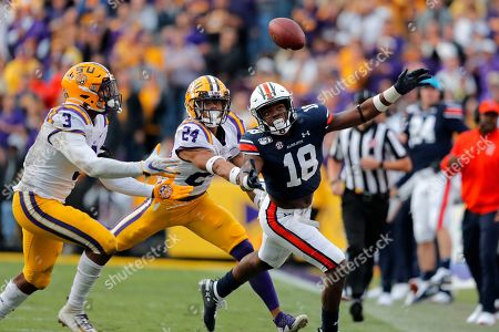 LSU cornerback Derek Stingley Jr. (24) and safety JaCoby Stevens (3) break up a pass intended for Auburn wide receiver Seth Williams (18) in the second half of an NCAA college football game in Baton Rouge, La