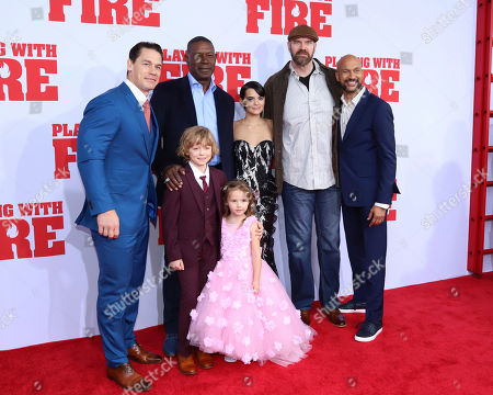 "Stock Photo of John Cena, Christian Convery, Dennis Haysbert, Finley Rose Slater, Brianna Hildebrand, Tyler Mane, Keegan-Michael Key. John Cena, from left, Dennis Haysbert, Christian Convery, Finley Rose Slater, Brianna Hildebrand, Tyler Mane, and Keegan-Michael Key attend the premiere of Paramount Pictures' ""Playing With Fire"" at the AMC Lincoln Square on Saturday, Oct. 26, in New York"