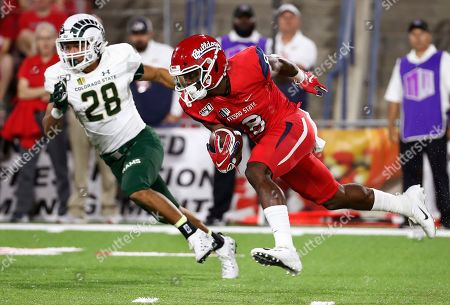 Stock Picture of Fresno State Chris Coleman returns a kick against Colorado State's Christian Hunter during the second half of an NCAA college football game in Fresno, Calif