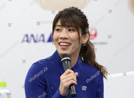 Stock Image of Women's wrestling Olympic gold medalist Saori Yoshida speaks as Tokyo 2020 Olympics committee displays the aircraft design to deliver Olympic flame from Greece in Tokyo
