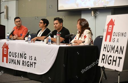 """From left, Rene Moya, Director of Housing Is A Human Right and its Rental Affordability Act campaign, moderates a panel discussion with speakers Magally """"Maga"""" Miranda Alcázar, PhD candidate in Chicana/o Studies at UCLA, Eugene Cota-Robles Fellow, and Ford Foundation Predoctoral Fellow, Trinidad Ruiz, Organizer, Los Angeles Tenants Union (LATU), and Elena Popp, Executive Director of the Eviction Defense Network (EDN), at """"Empowering La Communidad,"""" a community town hall on gentrification and its effects on Los Angeles' latinx communities on Saturday, Oct.26, 2019 in Los Angeles. The event was held at Cal State LA with special keynote speaker, labor and civil rights icon, Dolores Huerta"""