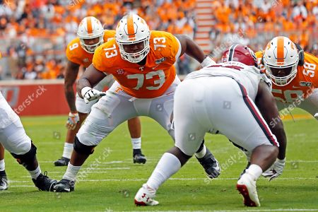 Tennessee offensive lineman Trey Smith (73) blocks in the first half of an NCAA college football game against South Carolina, in Knoxville, Tenn