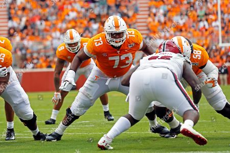 Stock Photo of Tennessee offensive lineman Trey Smith (73) blocks in the first half of an NCAA college football game against South Carolina, in Knoxville, Tenn