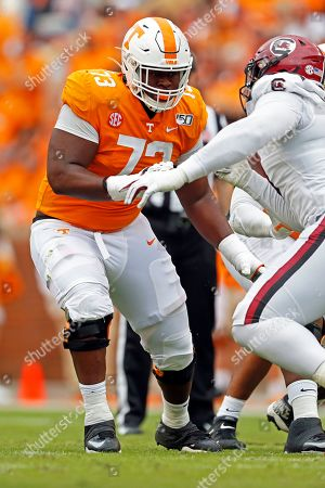 Stock Picture of Tennessee offensive lineman Trey Smith (73) blocks in the first half of an NCAA college football game, in Knoxville, Tenn