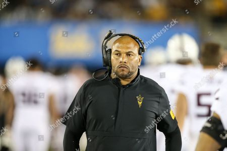 Pasadena CA,..Arizona State Sun Devils coach Antonio Pierce during the Arizona State vs UCLA Bruins at the Rose Bowl in Pasadena, Ca. on , (Photo by Jevone Moore)