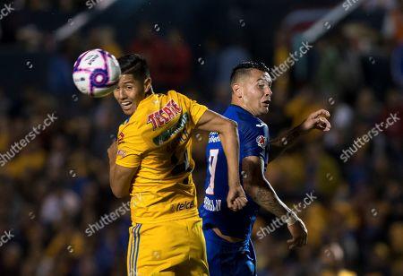 Hugo Ayala (L) of Tigres UANL in action against Milton Caraglio (R) of Cruz Azul the Apertura Tournament soccer match between Tigres UANL and Cruz Azul at the Universitario Stadium, in Monterrey, Mexico, 26 October 2019.