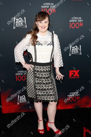 Jamie Brewer arrives for FX's American Horror Story 100th Episode Celebration at Hollywood Forever Cemetery in Hollywood, Los Angeles, California, USA, 26 October 2019. American Horror Story: 1984, the ninth installment of the award-winning anthology series, currently airs on FX in the US.