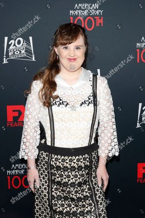Stock Picture of Jamie Brewer arrives for FX's American Horror Story 100th Episode Celebration at Hollywood Forever Cemetery in Hollywood, Los Angeles, California, USA, 26 October 2019. American Horror Story: 1984, the ninth installment of the award-winning anthology series, currently airs on FX in the US.
