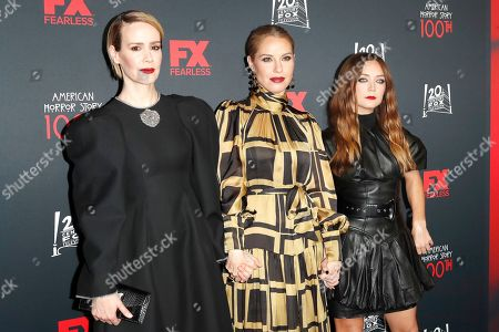 Sarah Paulson, Leslie Grossman and Billie Lourd arrive for FX's American Horror Story 100th Episode Celebration at Hollywood Forever Cemetery in Hollywood, Los Angeles, California, USA, 26 October 2019. American Horror Story: 1984, the ninth installment of the award-winning anthology series, currently airs on FX in the US.