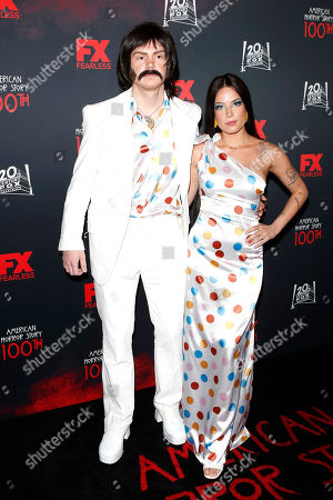 Evan Peters (L) and US singer Halsey (R) arrive for FX's American Horror Story 100th Episode Celebration at Hollywood Forever Cemetery in Hollywood, Los Angeles, California, USA, 26 October 2019. American Horror Story: 1984, the ninth installment of the award-winning anthology series, currently airs on FX in the US.