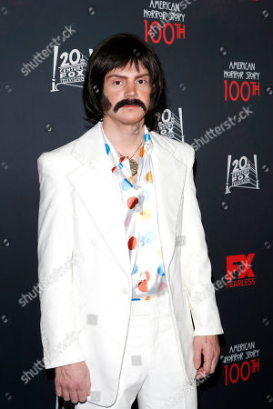 Stock Photo of Evan Peters arrives for FX's American Horror Story 100th Episode Celebration at Hollywood Forever Cemetery in Hollywood, Los Angeles, California, USA, 26 October 2019. American Horror Story: 1984, the ninth installment of the award-winning anthology series, currently airs on FX in the US.