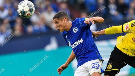 Schalke's Amine Harit plays during the German Bundesliga derby soccer match between FC Schalke 04 and Borussia Dortmund in Gelsenkirchen, Germany