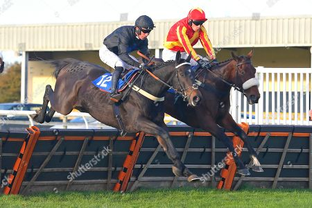 Top Beak left ridden by William Kennedy and trained by Mark Gillard and Destinys Choice ridden by Conor Ring and trained by Evan Williams  in The Ascot Insurance Group Combat Stress Centenary Novices' Hurdle during Horse Racing at Wincanton Racecourse on 27th October 2019