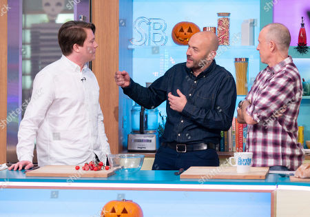 Stock Image of Daniel Rigby, Tim Lovejoy and Simon Rimmer