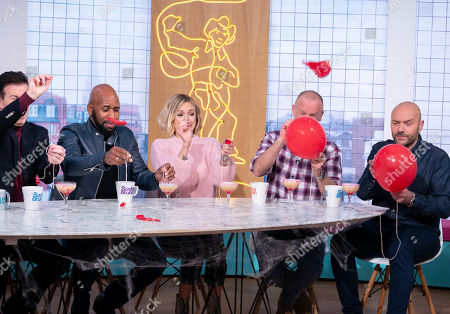 Stock Image of DJ Spoony and Fearne Cotton with Tim Lovejoy and Simon Rimmer