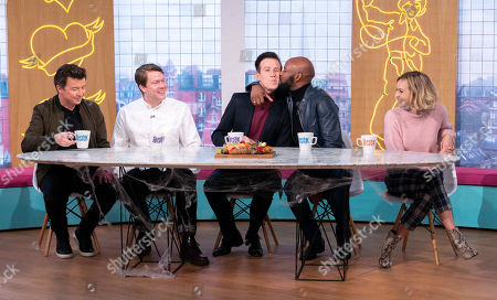 Stock Photo of Rick Astley, Daniel Rigby, Anton Du Beke, DJ Spoony and Fearne Cotton