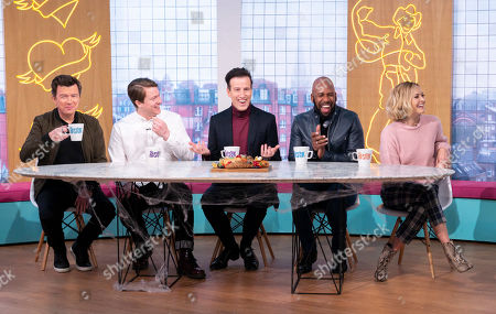 Stock Picture of Rick Astley, Daniel Rigby, Anton Du Beke, DJ Spoony and Fearne Cotton