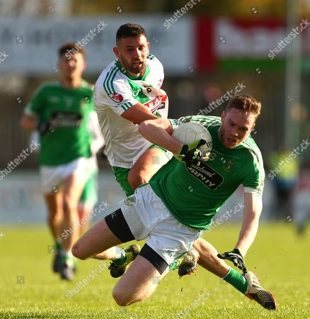 Moorefield vs Sarsfields. James Murray of Moorefield with Matty Byrne of Sarsfields.