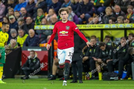 Manchester United midfielder James Garner (37) comes on in the second half during the Premier League match between Norwich City and Manchester United at Carrow Road, Norwich