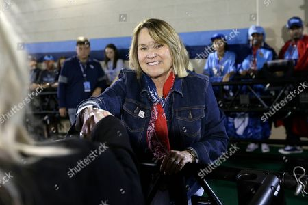 Tennessee Titans owner Amy Adams Strunk greets fans before an NFL football game against the Tampa Bay Buccaneers, in Nashville, Tenn