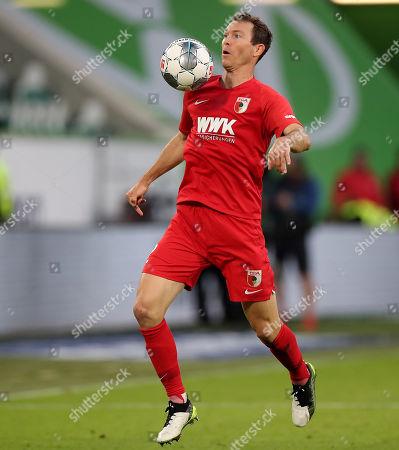 Augsburg's Stephan Lichtsteiner in action during the German Bundesliga soccer match between VfL Wolfsburg and FC Augsburg in Wolfsburg, Germany, 27 October 2019.
