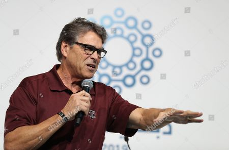 Outgoing US energy Secretary Rick Perry delivers his speech at the First Global Challenge Dubai 2019 Robotics competition at the Festival Arena in Dubai, UAE, 27 October 2019. According to media reports on 17 October, US Energy Secretary Rick Perry informed US President Donald Trump that he will resign from his post at the end of the year. Perry is facing increased scrutiny due to the impeachment inquiry concerning the Trump administration's alleged abuse of power amid allegations of pressuring Ukraine to investigate political rival Joe Biden.