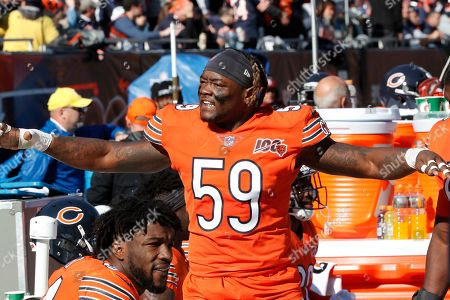 A.J. Klein. Chicago Bears inside linebacker Danny Trevathan reacts on the sideline during the first half of an NFL football game against the Los Angeles Chargers, in Chicago