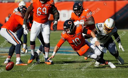 A.J. Klein. Chicago Bears quarterback Mitchell Trubisky (10) fumbles the ball in front of Los Angeles Chargers defensive end Damion Square (71) during the second half of an NFL football game, in Chicago. The Chargers won 17-16