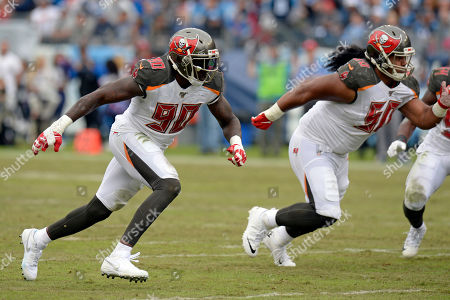 Tampa Bay Buccaneers linebacker Jason Pierre-Paul (90) plays against the Tennessee Titans in the second half of an NFL football game, in Nashville, Tenn