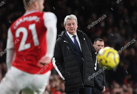 Crystal Palace manager Roy Hodgson watches his team against Arsenal during an English Premier League soccer match at the Emirates Stadium in London, Britain, 27 October 2019.