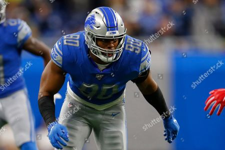 Detroit Lions defensive end Trey Flowers plays against the New York Giants during an NFL football game in Detroit