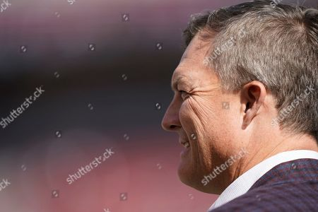 Stock Photo of San Francisco 49ers general manager John Lynch during an NFL football game against the Carolina Panthers in Santa Clara, Calif