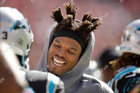 Carolina Panthers quarterback Cam Newton on the sidelines during the first half of an NFL football game against the San Francisco 49ers in Santa Clara, Calif