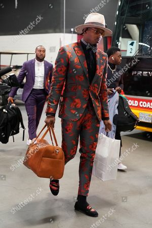 Stock Image of Carolina Panthers quarterback Cam Newton arrives at Levi's Stadium before an NFL football game against the San Francisco 49ers in Santa Clara, Calif