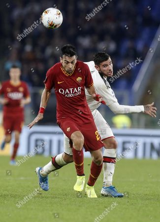 Romas Javier Pastore (L) in action against Milans Theo Hernandez (R) during the Serie A soccer match between AS Roma and AC Milan at the Olimpico stadium in Rome, Italy, 27 October 2019.