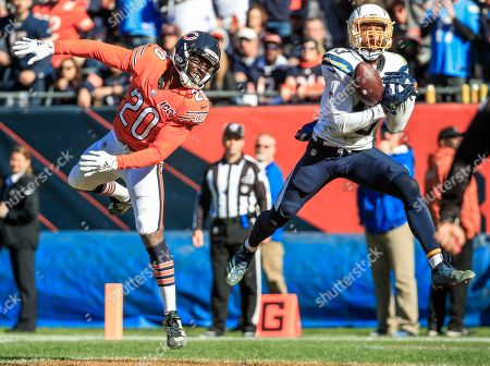 Chicago Bears cornerback Prince Amukamara (L) watches as Los Angeles Chargers wide receiver Keenan Allen (R) fails to catch a pass in the end zome during the NFL game between the Los Angeles Chargers and the Chicago Bears at Soldier Field in Chicago, Illinois, USA, 27 October 2019. The Chargers defeated the Bears.