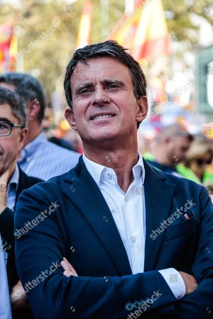 Politician Manuel Valls attends the demonstration against the Catalan Separatists.