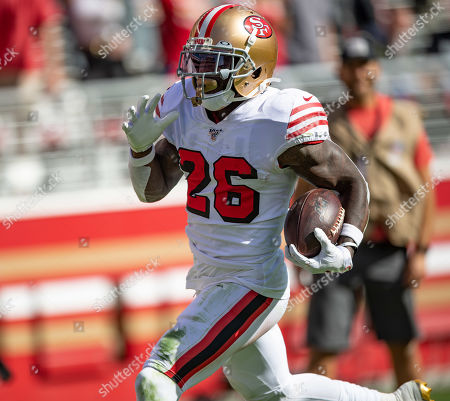 San Francisco 49ers running back Tevin Coleman (26) cruises in for one of his four touchdowns of the day, during a NFL game between the Carolina Panthers and the San Francisco 49ers at the Levi's Stadium in Santa Clara, California