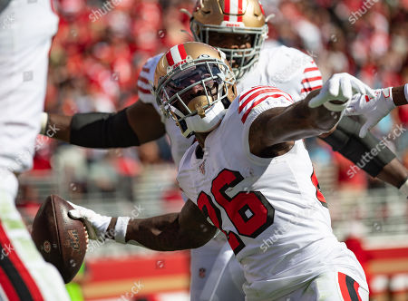San Francisco 49ers running back Tevin Coleman (26) celebrates a touchdown, during a NFL game between the Carolina Panthers and the San Francisco 49ers at the Levi's Stadium in Santa Clara, California