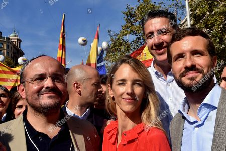 The president of the Catalan Popular Party Alejandro Fernandez, Speaker of the Congress of Deputies of the Popular Party Cayetana Alvarez de Toledo, Member of the People's Party Xavier Garcia Albiol and the Leader of the Popular Party Pablo Casado during the demonstration against Catalan separatists.