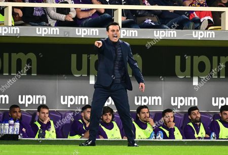 Fiorentina's coach Vincenzo Montella reacts during the Italian Serie A soccer match between ACF Fiorentina and SS Lazio at the Artemio Franchi stadium in Florence, Italy, 27 October 2019.