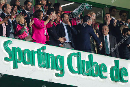 Stock Image of Cristiano Ronaldo's mother Dolores Aveiro (3L) and Sporting's president Frederico Varandas (C) watch the Portuguese First League soccer match Sporting vs Vitoria de Guimaraes held at Alvalade Stadium, Lisbon, Portugal, 27 October 2019.