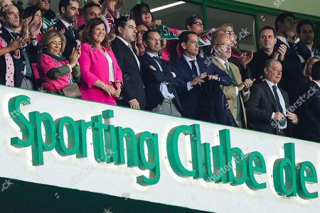 Cristiano Ronaldo's mother Dolores Aveiro (3L) and Sporting's president Frederico Varandas (C) watch the Portuguese First League soccer match Sporting vs Vitoria de Guimaraes held at Alvalade Stadium, Lisbon, Portugal, 27 October 2019.