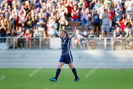 North Carolina Courage's Heather O'Reilly salutes the crowd as she leaves an NWSL championship soccer game against the Chicago Red Stars during the second half in Cary, N.C